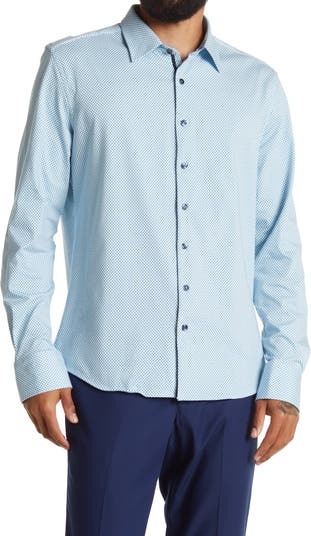 Вязаная классическая рубашка с геометрическим принтом Stone Rose