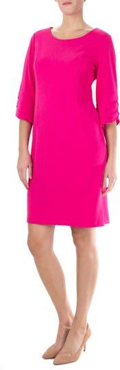 Jewel Neck Tiered Sleeve Midi Dress Nina Leonard