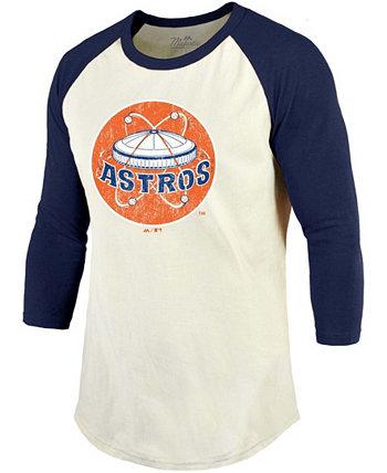 Men's Cream, Navy Houston Astros Cooperstown Collection Raglan 3/4 Sleeve T-shirt Majestic