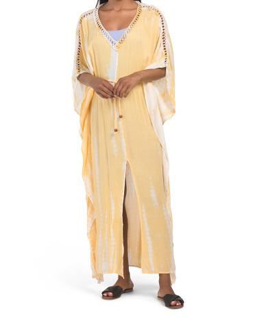 Платье-кимоно с принтом тай-дай Raviya