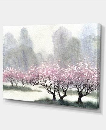"""Designart Цветущие деревья весной Пейзаж Художественная печать Холст - 32 """"X 16"""" Design Art"""