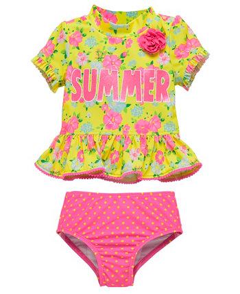 Набор из двух частей Rashguard для новорожденных девочек с ярким цветочным рисунком Wetsuit Club