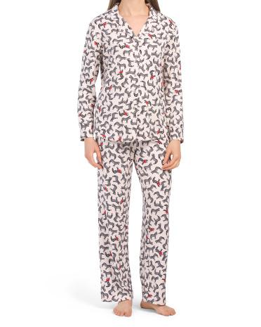 2pc Zebra Notch Collar Top And Pants Pj Set Echo
