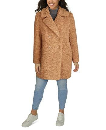 Двубортное плюшевое пальто из искусственного меха больших размеров Kenneth Cole