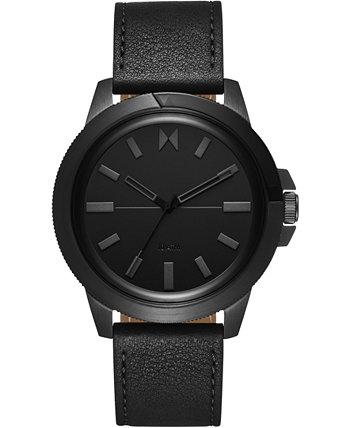Мужские спортивные часы с черным кожаным ремешком 45 мм MVMT