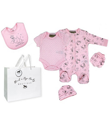 Подарочный набор для маленьких девочек со слоном в сетчатой сумке, 5 предметов Rock-A-Bye Baby Boutique