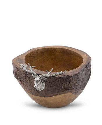 Лось, голова оленя, деревенская деревянная салатница с краями из натуральной коры Vagabond House