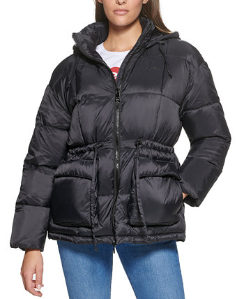 Женская стеганая куртка-пуховик с капюшоном и поясом на талии Levi's®