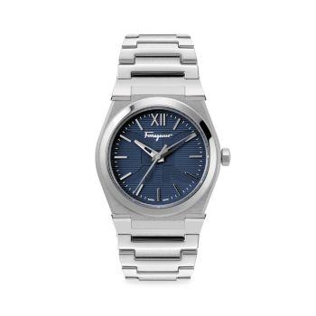 Часы Vega Pair Silvertone из нержавеющей стали с браслетом Salvatore Ferragamo