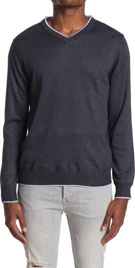 Sedona Tipped V-Neck Pullover Sweater 7 Diamonds