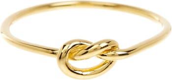 Тонкое кольцо Love Knot из желтого золота 14 карат с вермеилом Sterling Forever