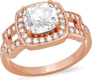 Кольцо с кристаллами огранки подушка HMY Jewelry