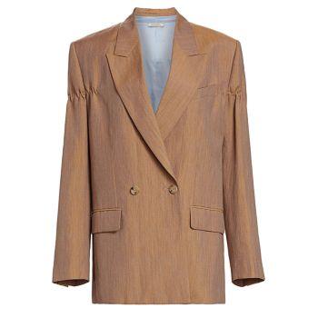 Белье & amp; Шерстяной двубортный пиджак Nina Ricci