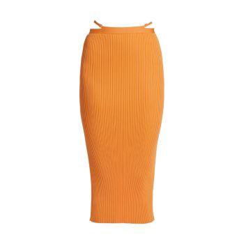 Компактная юбка миди с ремешками в рубчик Sade Jonathan Simkhai