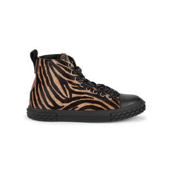 Zebra-Print Calf Hair & Leather High-Top Runners Giuseppe Zanotti