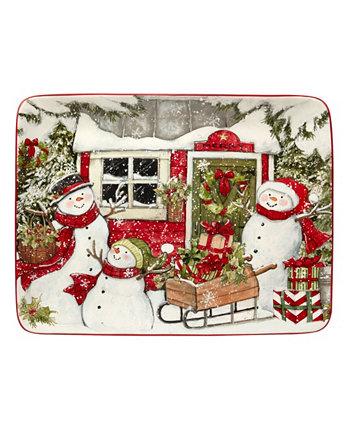 Прямоугольная тарелка «Дом снеговика», 16 x 12 дюймов Certified International