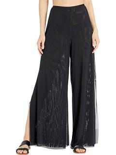 Двухслойные широкие брюки-сетка Marche De Solids с боковыми разрезами Carmen Marc Valvo