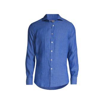 Спортивная рубашка из однотонного льна Canali