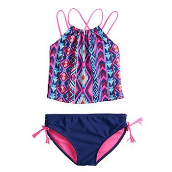 Girls 7-16 SO® High Neck Midkini & Bottoms Swimsuit Set SO
