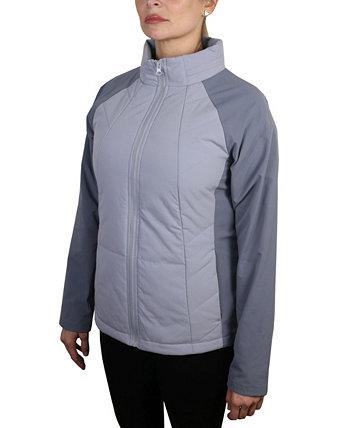 Женская легкая стеганая куртка из рипстопа с наполнителем из колор-блок и безбилетным капюшоном Mountain And Isles