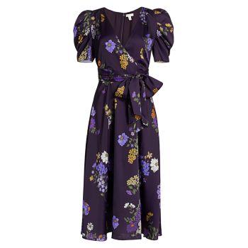Платье миди с пышными рукавами и цветочным принтом ML Monique Lhuillier