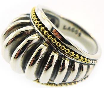 Текстурированное кольцо из золота 18 карат и стерлингового серебра - размер 7 LAGOS