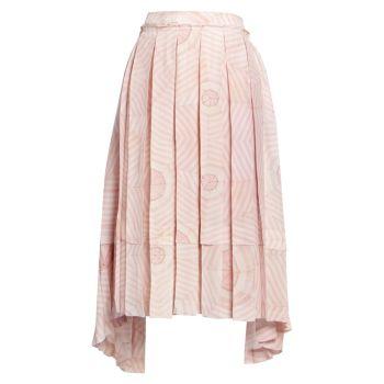 Шелковая юбка с плиссированным принтом Deconstructed Simone Rocha