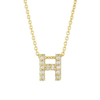 Tiny Treasures Diamond & amp; Ожерелье с подвеской H из желтого золота 18 карат Roberto Coin