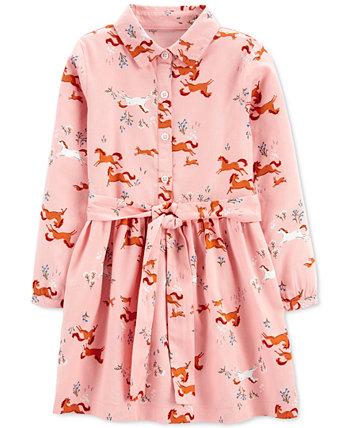 Платье-рубашка с принтом лошадей для маленьких девочек Carter's