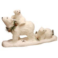 "National Christmas Tree 11.7"" Polar Bear Two Cubs Floor Decor National Christmas Tree Company"