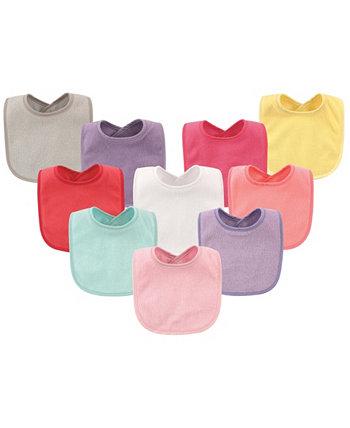 Нагрудники Drooler с водонепроницаемой подкладкой, набор из 10, Girl Solids, один размер Hudson Baby