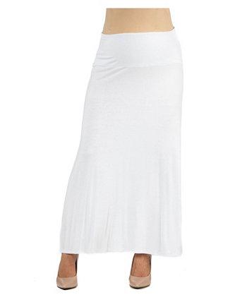 Женская эластичная талия сплошной цвет материнства юбка макси 24seven Comfort Apparel