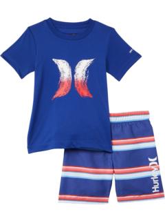 UPF 50+ T-Shirt and Swim Trunks Set (Little Kids) Hurley Kids
