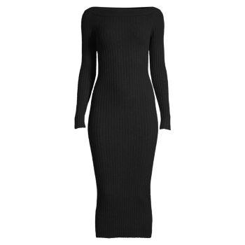 Трикотажное платье миди в рубчик с открытыми плечами MICHAEL Michael Kors