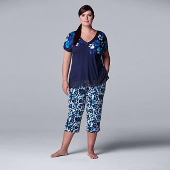 Plus Size Simply Vera Vera Wang Pajama Top & Pajama Capris Set Simply Vera Vera Wang