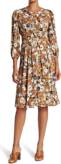 Платье с длинным рукавом и пуговицами спереди с цветочным принтом Collective Concepts