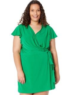 Plus Size Solid Jersey Ruffle Sleeve Wrap Short Romper London Times
