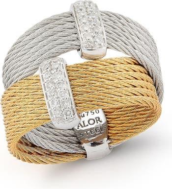 Кольцо с витым каналом из белого золота 18 карат с бриллиантом - 0,2 карата ALOR