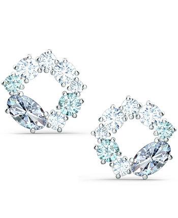 Серебряные серьги-гвоздики с кристаллами Swarovski