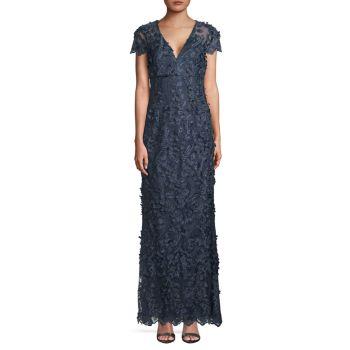 Платье русалки с 3D цветочным принтом Carmen Marc Valvo Infusion