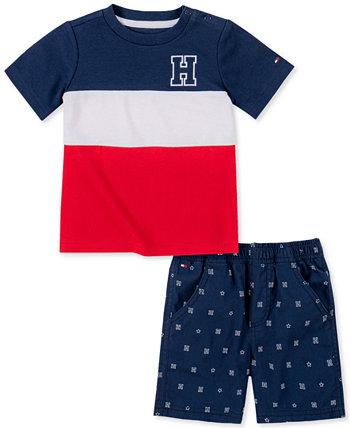 Мальчики 2-х шт. Футболка с широкими полосками и шорты с принтом Tommy Hilfiger