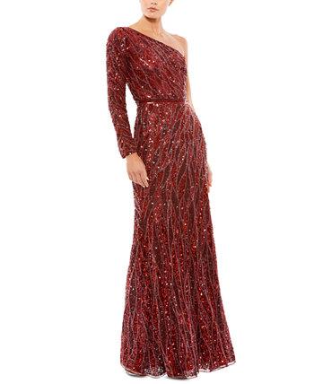 Асимметричное платье с пайетками MAC DUGGAL