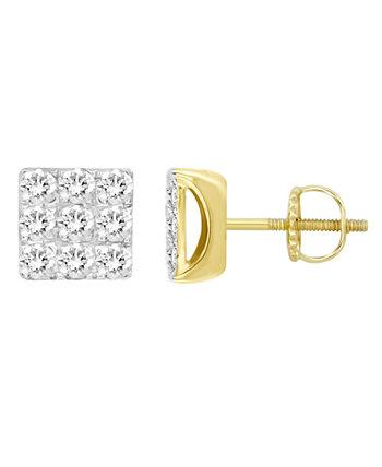 Набор мужских серег с бриллиантами (1/4 карата) из желтого золота 10 карат Macy's