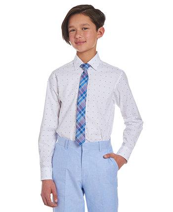 Биг Бойз 2 шт. Эластичная классическая рубашка с логотипом и галстук в клетку Tommy Hilfiger