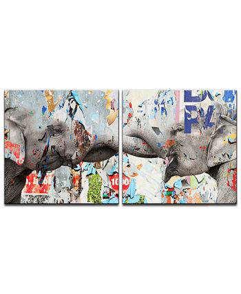 'Слоник Седло Чернильный VI' 2 шт. Набор для печати на холсте Ready2HangArt