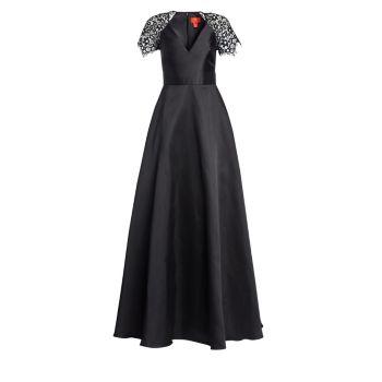 Платье трапециевидной формы с кружевными рукавами ML Monique Lhuillier