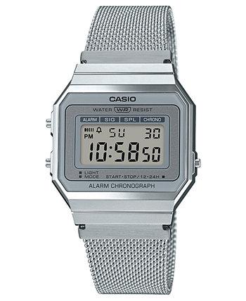 Мужские цифровые часы-браслет из нержавеющей стали 35,5 мм Casio