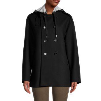 Двубортный пиджак из смесовой шерсти с капюшоном REDValentino
