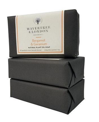 Naturals Бергамот и мыло с герани в упаковке 3 штуки, каждая по 7 унций Wavertree & London