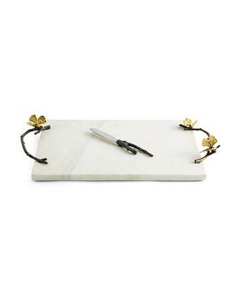 Белый сырный стол и ножи Butterfly Ginkgo White MICHAEL ARAM